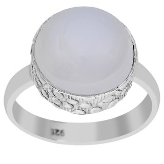 Orchid Jewelry 925 Sterling Silver 6 1/2 Carat Round Cut Chalcedony Gemstone Ring