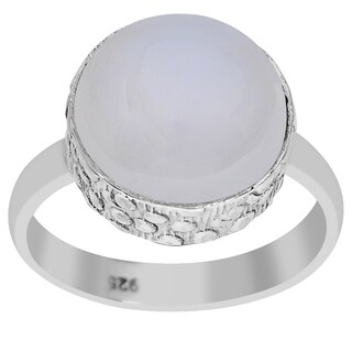 Orchid Jewelry 6 1/2 Carat Round Cut Chalcedony Gemstone 925 Sterling Silver Ring