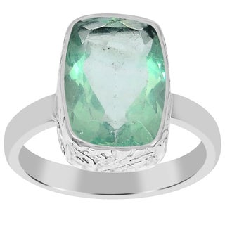 Orchid Jewelry 925 Sterling Silver 5 5/9 Carat Cushion Cut Fluorite Gemstone Ring