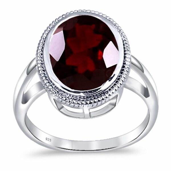 Wedding Women/'s Emerald Cut Garnet Gemstone Silver Ring Size 7 8 9 10 Free Ship