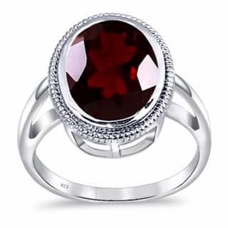 7.0 Carat Red Garnet Gemstone 925 Sterling Silver Filigree Rings