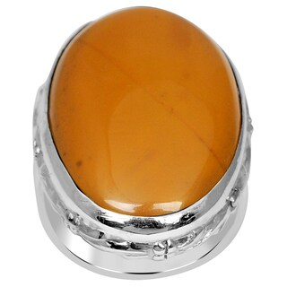 Orchid Jewelry 925 Sterling Silver 24 1/2 Carat Oval Jasper Cabochon Ring
