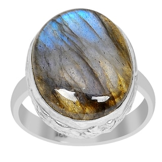 Orchid Jewelry 925 Sterling Silver 10 3/5 Carat Oval Cut Labradorite Ring