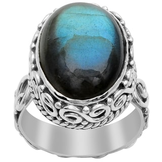 Orchid Jewelry 925 Sterling Silver 14 Carat Oval Cut Labradorite Ring