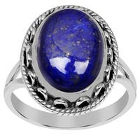 Orchid Jewelry 925 Sterling Silver 6.90 Carat Oval Cut Lapis Ring