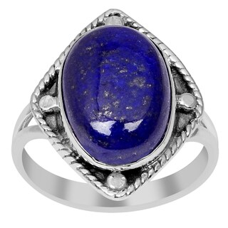 Orchid Jewelry 6.90 Carat Oval Cabochon Lapis Lazuli 925 Sterling Silver Ring