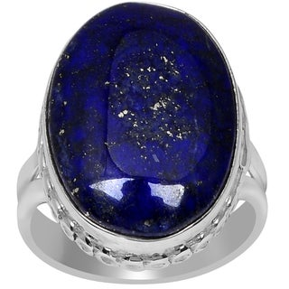 Orchid Jewelry 925 Sterling Silver 11 4/5 Carat Oval Cut Lapis Ring