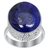 Orchid Jewelry 16 Carat Lapis Lazuli 925 Sterling Silver Handmade Ring