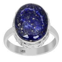 Orchid Jewelry 8 Carat Oval Shape Lapis Lazuli 925 Sterling Silver Cabochon Ring