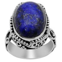 Orchid Jewelry 16 Carat Oval Cabochon Lapis Lazuli 925 Sterling Silver Ring