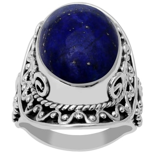 Orchid Jewelry 925 Sterling Silver 16 Carat Oval Cut Lapis Ring