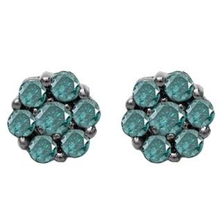 10k Black Gold 3/8ct TW Round-cut Blue Diamond Cluster Flower Stud Earrings (I2-I3)
