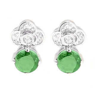 Sterling Silver 1.81ct Chrome Diopside and White Zircon Flower Drop Earrings