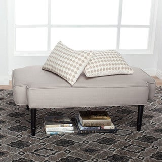 Offex Taupe Polyester Contemporary Upholstered Plinth Ottoman