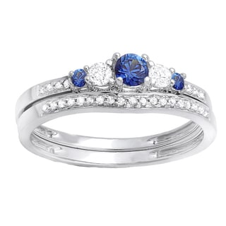 18k White Gold 3/8ct TW Blue Sapphire and Diamond Accent 5-stone Bridal Ring (H-I, I1-I2)