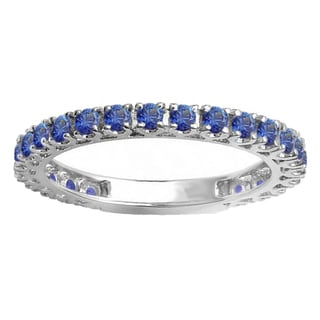 10k White Gold 1ct TW Round Blue Sapphire Eternity Stackable Wedding Band
