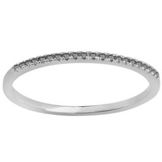 10k White Gold 1/10ct TW Black Diamond Dainty Wedding Stackable Ring