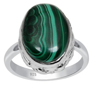 Orchid Jewelry 925 Sterling Silver 13 5/9 Carat Oval Cut Malachite Gemstone Ring
