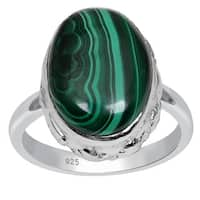 Orchid Jewelry 13 5/9 Carat Oval Shape Malachite Gemstone 925 Sterling Silver Ring