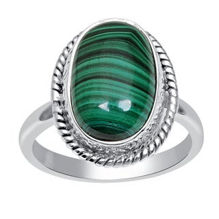 Orchid Jewelry 925 Sterling Silver 8.1 Carat Oval Cut Malachite Gemstone Ring