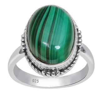 Orchid Jewelry 925 Sterling Silver 7 4/5 Carat Oval Cut Malachite Ring