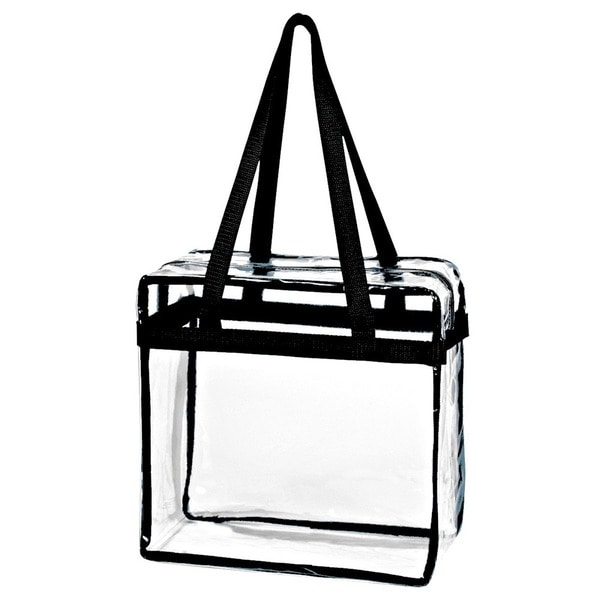 Shop Crystal Clear Transparent PVC Plastic Women Tote Bag with Zippered Top  Closure and Black Shoulder Strap - Free Shipping On Orders Over  45 -  Overstock ... 85fb3c2d5f3ed