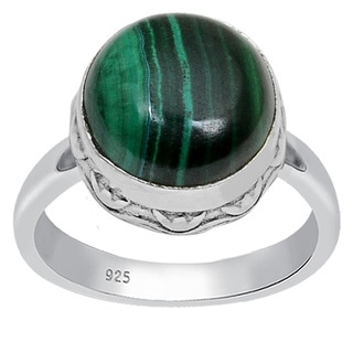 Orchid Jewelry 925 Sterling Silver 5 3/5 Carat Round Cut Malachite Ring