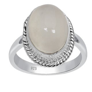 Orchid Jewelry 925 Sterling Silver 6 2/3 Carat Oval Cut Moonstone Ring