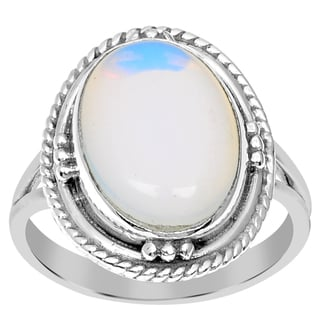 Orchid Jewelry 925 Sterling Silver 5 Carat Oval Cut Opal Ring