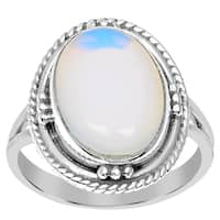 Orchid Jewelry 925 Sterling Silver 5 Carat Opal Gemstone Ring