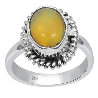 Orchid Jewelry 925 Sterling Silver 1 Carat Oval Cut Opal Ring