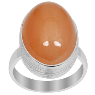 Orchid Jewelry 925 Sterling Silver 15 Carat Oval Cut Orange Moonstone Ring