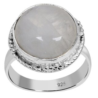 Orchid Jewelry 925 Sterling Silver 8 1/5 Carat Round Cut Rainbow Moonstone Ring
