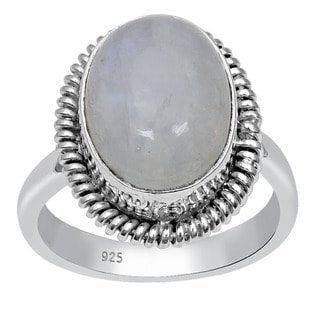 Orchid Jewelry 925 Sterling Silver 6.95 Carat Oval Cut Rainbow Moonstone Ring