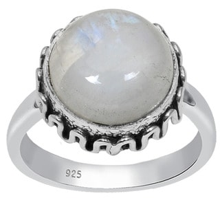 Orchid Jewelry 925 Sterling Silver 6 1/5 Carat Round Cut Rainbow Moonstone Ring