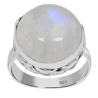 Orchid Jewelry 925 Sterling Silver 11.1 Carat Round Cut Rainbow Moonstone Ring
