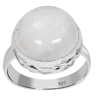 Orchid Jewelry 925 Sterling Silver 12 Carat Round Cut Rainbow Moonstone Ring