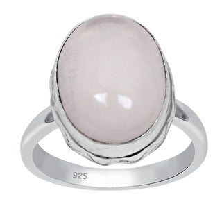 Orchid Jewelry 925 Sterling Silver 10.1 Carat Oval Cut Rose Quartz Ring