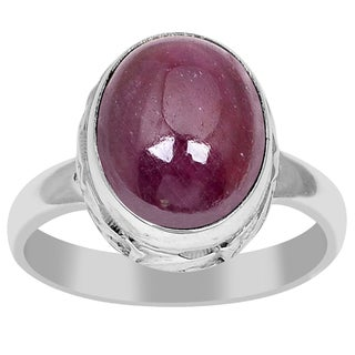 Orchid Jewelry 925 Sterling Silver 8.9 Carat Oval Cut Ruby Ring