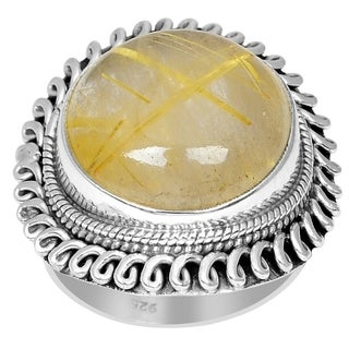 Orchid Jewelry 925 Sterling Silver 16 Carat Rutilated Quartz Cabochon Ring
