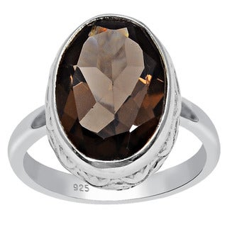Orchid Jewelry 925 Sterling Silver 5 1/4 Carat Oval Cut Smoky Quartz Ring