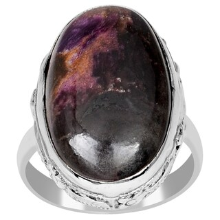 Orchid Jewelry 925 Sterling Silver 12 3/5 Carat Genuine Sugilite Cabochon Ring