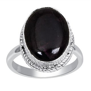 Orchid Jewelry 925 Sterling Silver 6 1/3 Carat Oval Cut Sugilite Ring