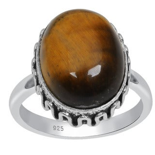 Orchid Jewelry 925 Sterling Silver 9 1/5 Carat Oval Cut Tigers eye Ring