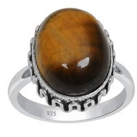 Orchid Jewelry 925 Sterling Silver Oval Shaped Vintage Tiger Eye Ring