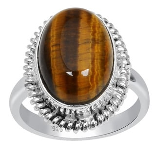 Orchid Jewelry 925 Sterling Silver 6 3/4 Carat Oval Cut Tigers eye Gemstone Ring