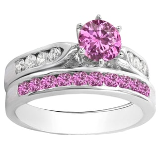 14k Gold 1ct TW Round Pink Sapphire and Diamond Bridal Ring Set (H-I, I1-I2 )