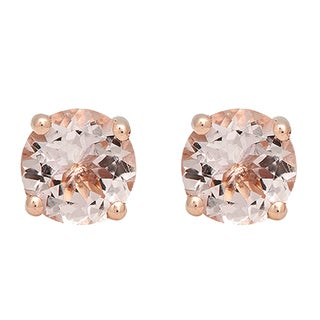 10k Rose Gold 1 1/2ct TW Round-cut Morganite Solitaire Stud Earrings