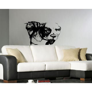 Pitbull Breed Decal Pet Animal Family Wall Decal Brit Sticker Dog Puppy Sticker Decal size 48x57 Col