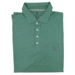Brunello Cucinelli Green Cotton Short Sleeve Polo M